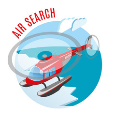 search from air isometric composition vector image
