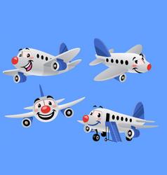 set bundle cartoon airplane vector image