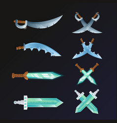 set of cartoon medieval swords vector image