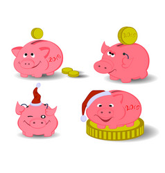 set of pigs symbol of the new year eps10 vector image