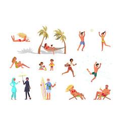 set people on beach vector image