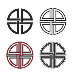 set shield knot symbols flat and line style vector image