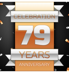 Seventy nine years anniversary celebration golden vector