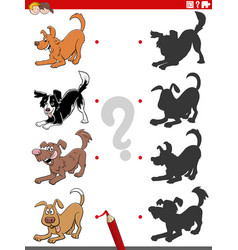 Shadow task with cartoon playful dog characters vector