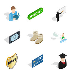 Single individual icons set isometric style vector