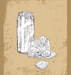 soft drink and chips sketches vector image