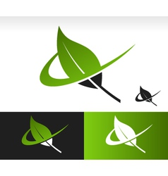 Swoosh Green Leaf Logo Icon vector