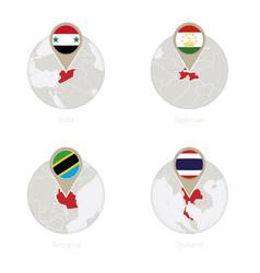 syria tajikistan tanzania thailand and flag vector image