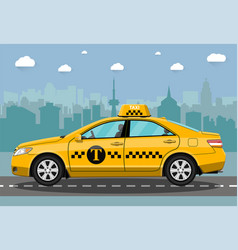 taxi car on city background vector image