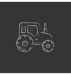 Tractor Drawn in chalk icon vector