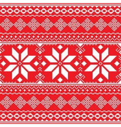 Traditional folk red and white embroidery pattern vector image