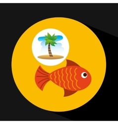 Tropical vacation beach fish icon vector