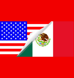 United states and mexico flags combined vector