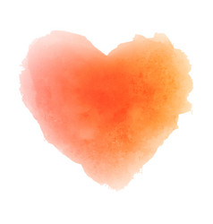 Watercolor orange hand drawn paper texture heart vector