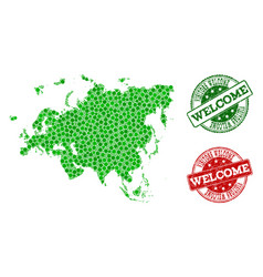 Welcome collage of map of europe and asia and vector
