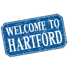 Welcome to hartford blue square grunge stamp vector