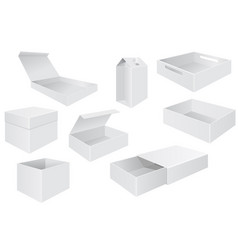 white boxes set of different packaging vector image