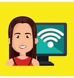 Woman pc wifi web vector