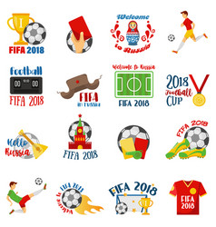 world football cup 2018 with football symbols vector image