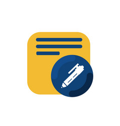 yellow memo and pen button icon and logo vector image