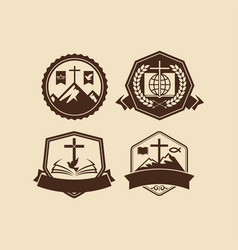 a set of christian and biblical logos vector image
