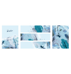 artistic creative five season cards with hand vector image
