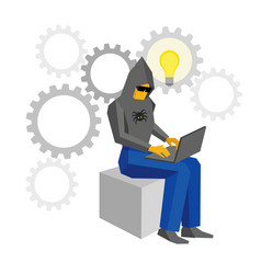 Computer hacker with laptop and idea bulb vector
