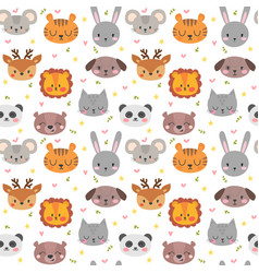 cute seamless pattern with funny animals smile vector image vector image