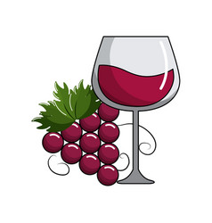 Glass of wine and grape fruit tasty vector