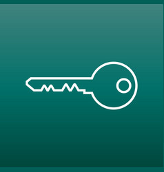 Key icon in flat style on green background unlock vector