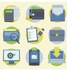 online business icons in flat style vector image vector image