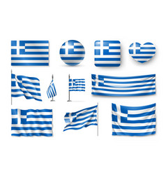 set greece flags banners banners symbols flat vector image