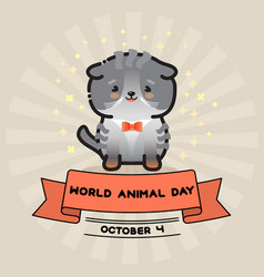 world animal day card with cute cat and vector image