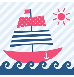 boat on the waves vector image vector image
