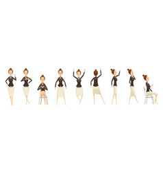 business woman in various poses set vector image vector image