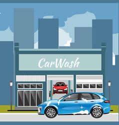car wash station city landscape vector image vector image