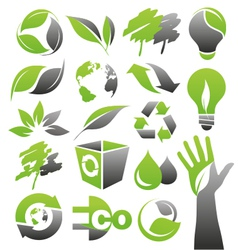 ecology green icons vector image