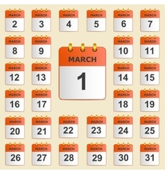 Set of icons for the calendar in March vector image vector image
