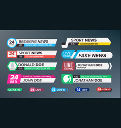 tv news bars set sign of lower third live vector image