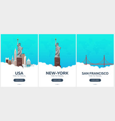 usa san francisco time to travel set of travel vector image