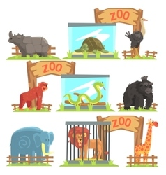 Wild Animals Behind The Shed In Zoo Set vector image vector image