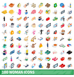 100 woman icons set isometric 3d style vector image