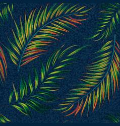 exotic leaf seamless print on denim backdrop vector image vector image
