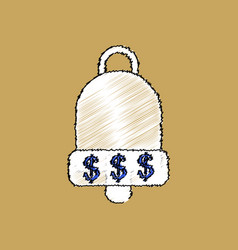 flat shading style icon bell with dollar symbol vector image vector image