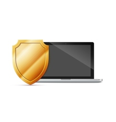 laptop with shield - internet security antivirus vector image vector image