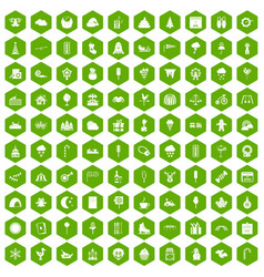 100 childrens parties icons hexagon green vector image