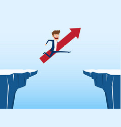 businessman with red arrow sign jump through the vector image vector image