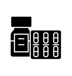 pills and tablets and bottle icon vector image