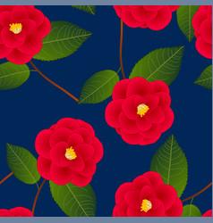 red camellia flower on indigo blue background vector image