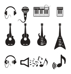 Set of black music icons vector image